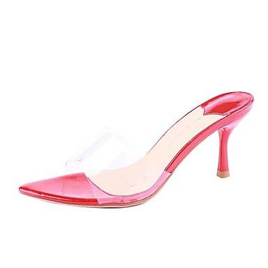 สำหรับผู้หญิง รองเท้าไม้ & รองเท้าหัวทู่ ส้น Stiletto PU ฤดูใบไม้ผลิ สีดำ / แดง / เงิน