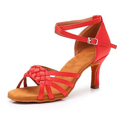 สำหรับผู้หญิง รองเท้าเต้นรำ ซาติน ลาติน ส้น ส้นป้าน ตัดเฉพาะได้ สีน้ำตาล / แดง / สีกากี / Performance / หนังสัตว์ / ฝึก
