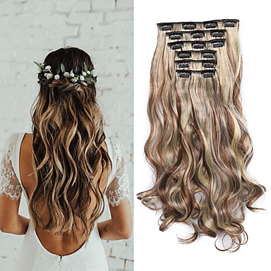 cheap Synthetic Extensions-Laflare Synthetic Extentions Wavy Synthetic Hair Medium Length Hair Extension Clip In Clip In / On 1 Piece Women Extention New Arrival Women's Christmas Wedding Halloween