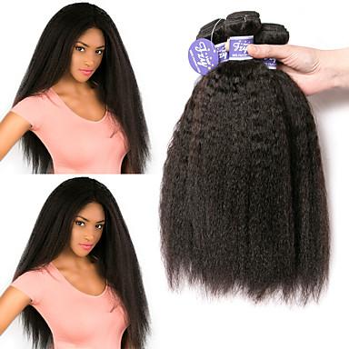 povoljno Ekstenzije od ljudske kose-3 paketa Peruanska kosa Yaki Straight Remy kosa Netretirana  ljudske kose Ljudske kose plete Produžetak Bundle kose 8-28 inch Natural Isprepliće ljudske kose Klasični Jednostavan dressing dizajneri