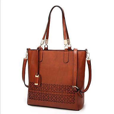 Žene Patent-zatvarač PU Tote torbica Crn / Braon / Lila-roza
