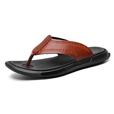 สำหรับผู้ชาย รองเท้าสบาย ๆ แน๊บป้า Leather ฤดูใบไม้ผลิ / ฤดูร้อน คลาสสิก / ไม่เป็นทางการ รองเท้าแตะและรองเท้าแตะ ระบายอากาศ สีดำ / สีน้ำตาล