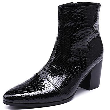 preiswerte Besondere Angebote-Herrn Fashion Boots Nappaleder Herbst / Herbst Winter Klassisch / Freizeit Stiefel warm halten Mittelhohe Stiefel Schwarz / Party & Festivität / Party & Festivität / Springerstiefel