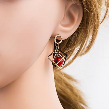 povoljno Modne naušnice-Žene Više boja Viseće naušnice Geometrijski Višnja Europska Naušnice Jewelry Crvena Za Dnevno 1 par