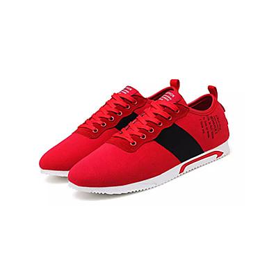 สำหรับผู้ชาย รองเท้าสบาย ๆ ผ้าใบ ฤดูใบไม้ผลิ ไม่เป็นทางการ รองเท้ากีฬา วสำหรับเดิน ระบายอากาศ สีดำ / แดง / สีเทา