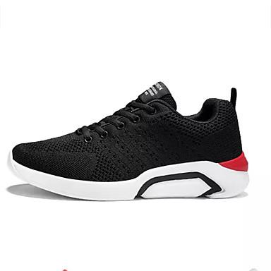 สำหรับผู้ชาย รองเท้าสบาย ๆ ผ้ายืดหยุ่น / Tissage Volant ฤดูใบไม้ผลิ Sporty รองเท้ากีฬา สำหรับวิ่ง ไม่ลื่นไถล สีดำ / แดง / สีเทา / การกรีฑา