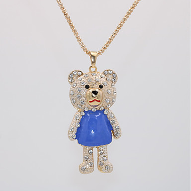 levne Dámské šperky-Dámské Náhrdelníky s přívěšky Náhrdelník dlouhý náhrdelník Klasika Medvěd Zvíře Jedinečný design Sladký Cute Style Pozlacené Chrome Červená Modrá Růžová 70 cm Náhrdelníky Šperky 1ks Pro Narozeniny