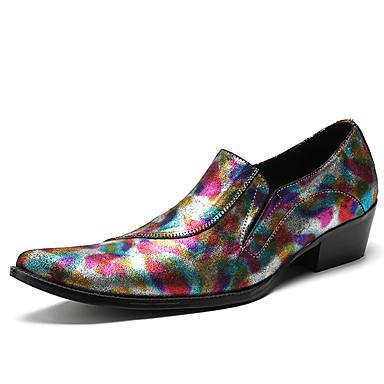 สำหรับผู้ชาย Novelty Shoes แน๊บป้า Leather ฤดูใบไม้ผลิ / ตก ไม่เป็นทางการ / อังกฤษ รองเท้าส้นเตี้ยทำมาจากหนังและรองเท้าสวมแบบไม่มีเชือก ไม่ลื่นไถล ลายบล็อคสี สายรุ้ง / พรรคและเย็น / พรรคและเย็น