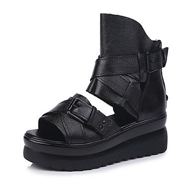 สำหรับผู้หญิง รองเท้าแตะ รองเท้าบู้ทส้นเตารีด PU ฤดูร้อนฤดูใบไม้ผลิ สีดำ