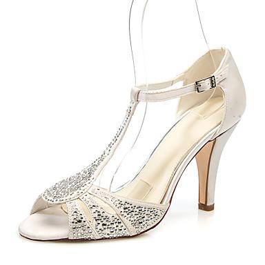 สำหรับผู้หญิง รองเท้าแต่งงาน ส้น Stiletto ที่สวมนิ้วเท้า หินประกาย ซาติน minimalism ฤดูร้อน สีน้ำตาลอ่อน / ขาว / น้ำเงินเข้ม / งานแต่งงาน