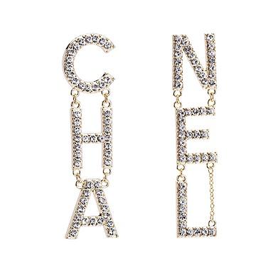 povoljno Modne naušnice-Žene Srebro Zlato Viseće naušnice Alphabet Shape Slovo Europska Elegantno Početno Nakit Pozlaćeni Imitacija dijamanta Naušnice Jewelry Zlato / Pink Za Dnevno 1 par