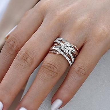 สำหรับผู้หญิง แหวนหมั้น Cubic Zirconia 1pc ขาว ทองชุบ โลหะผสม หก Prongs ความหรูหรา งานแต่งงาน การหมั้น เครื่องประดับ เล่นไพ่คนเดียว