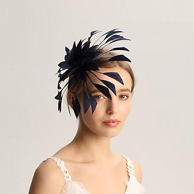 Flax / ขนนก fascinators กับ ขนนก 1pc งานแต่งงาน / โอกาสพิเศษ หูฟัง