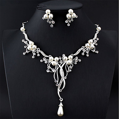 cheap Jewelry Sets-Women's White Bridal Jewelry Sets Y Necklace Long Pear Luxury Fashion Elegant Bridal Imitation Pearl Earrings Jewelry Silver For Wedding Party Engagement Festival 1 set