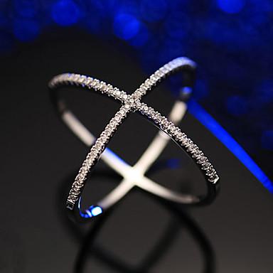 voordelige Dames Sieraden-Dames Ring Zirkonia 1pc Zilver Koper Stijlvol Artistiek Feest Verloving Sieraden X-ring Cool