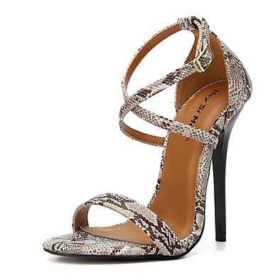 สำหรับผู้หญิง รองเท้าแตะ ส้น Stiletto เปิดนิ้ว หัวเข็มขัด PU คลาสสิก ฤดูร้อน สีดำ / แดง / สีน้ำตาล / พรรคและเย็น / พรรคและเย็น