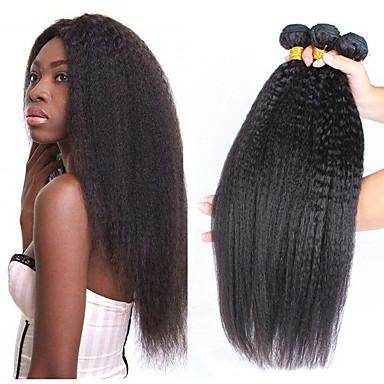 povoljno Ekstenzije od ljudske kose-3 paketa Brazilska kosa Yaki Straight Remy kosa Ljudske kose plete Produžetak Bundle kose 8-28 inch Prirodna boja Isprepliće ljudske kose Nježno Klasični Lijep Proširenja ljudske kose