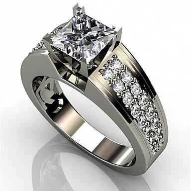 billige Motering-Herre Dame Ring Kubisk Zirkonium 1pc Hvit Kobber Geometrisk Form Stilfull Engasjement Daglig Smykker Klassisk Glede Kul