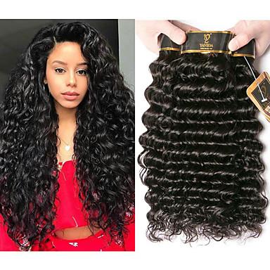 4 Bundles / กลุ่ม ผมบราซิล เป็นลอนคลื่น 100% Remy Hair Weave Bundles มนุษย์ผมสาน ที่ต่อ มัดผม 8-28 inch สีธรรมชาติ สานเส้นผมมนุษย์ Odor Free Creative อย่างผ้าไหม ส่วนขยายของผมมนุษย์