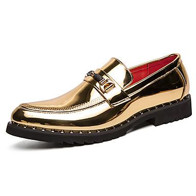 สำหรับผู้ชาย สไตล์อินเดียนแดง Synthetics ฤดูใบไม้ผลิ / ตก คลาสสิก / ไม่เป็นทางการ รองเท้าส้นเตี้ยทำมาจากหนังและรองเท้าสวมแบบไม่มีเชือก ไม่ลื่นไถล สีดำ / สีทอง / พรรคและเย็น / พรรคและเย็น