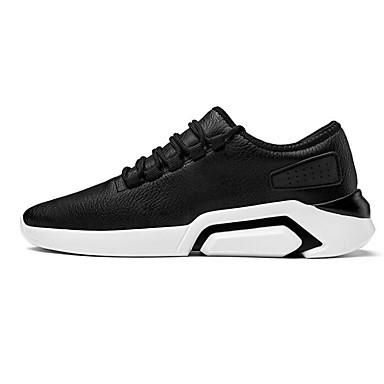 สำหรับผู้ชาย รองเท้าสบาย ๆ PU ฤดูใบไม้ผลิ รองเท้ากีฬา สำหรับวิ่ง สีดำและสีขาว / ขาว