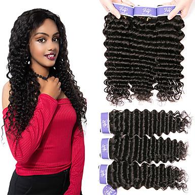 6 กลุ่ม ผมเปรู เป็นลอนคลื่น 100% Remy Hair Weave Bundles เครื่องประดับศรีษะ มนุษย์ผมสาน หนึ่งแพ็คโซลูชั่น 8-28 inch ธรรมชาติ สานเส้นผมมนุษย์ นุ่ม มาใหม่ ผมเส้นไหม ส่วนขยายของผมมนุษย์