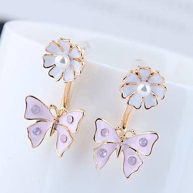สำหรับผู้หญิง ต่างหูติดหู ต่างหู front back earrings Butterfly เกาหลี หวาน แฟชั่น สไตล์น่ารัก เลียนแบบเพชร ต่างหู เครื่องประดับ ขาว / สีดำ / สีม่วงอ่อน สำหรับ วันครบรอบ ของขวัญ ทุกวัน ทำงาน เทศกาล 1