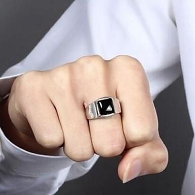 voordelige Herensieraden-Heren Ring Obsidiaan 1pc Zilver Koper Strass Punk Dagelijks Sieraden