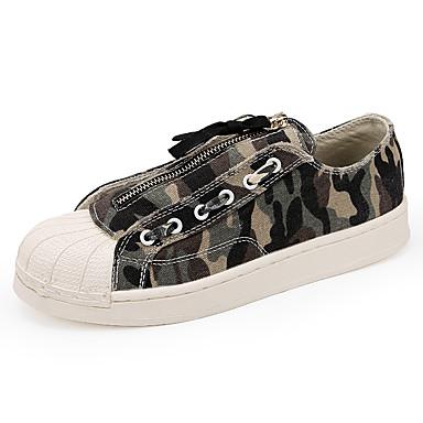 สำหรับผู้ชาย รองเท้าสบาย ๆ ผ้าใบ / PU ฤดูใบไม้ผลิ ไม่เป็นทางการ รองเท้าผ้าใบ ไม่ลื่นไถล Camouflage Color สีเขียว / สีเทา