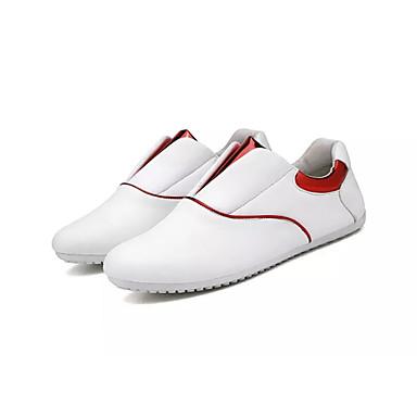 สำหรับผู้ชาย รองเท้าขับขี่ PU ฤดูใบไม้ผลิ ไม่เป็นทางการ รองเท้าส้นเตี้ยทำมาจากหนังและรองเท้าสวมแบบไม่มีเชือก ระบายอากาศ สีดำ / ขาว / ผ้าขนสัตว์สีธรรมชาติ
