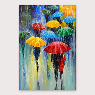 iarts® มือทาสีในภาพวาดสีน้ำมันฝนกับกรอบยืดสำหรับตกแต่งบ้าน