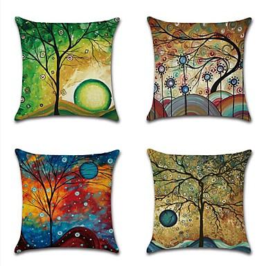 4.0 ชิ้น ฝ้าย / ลินิน Pillow Cover, ลายดอกไม้ ต้นไม้ / ใบไม้ Cartoon ทุ่งหญ้าชนบท ปาหมอน