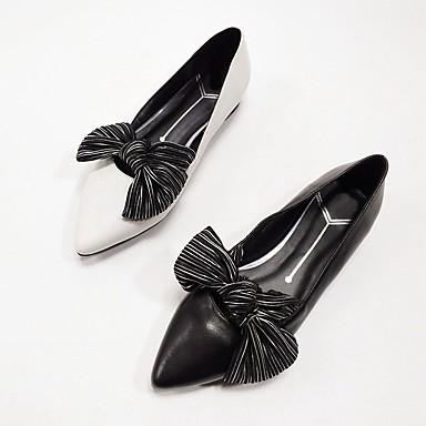 สำหรับผู้หญิง รองเท้าส้นเตี้ย ส้นแบน แน๊บป้า Leather ฤดูใบไม้ผลิ สีดำ / ขาว