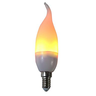 1pc 3 W หลอด LED รูปข้าวโพด 250 lm E14 C35L 29 ลูกปัด LED SMD 2835 ปาร์ตี้ ตกแต่ง เปลวไฟกะพริบ ขาวนวล 85-265 V / RoHs