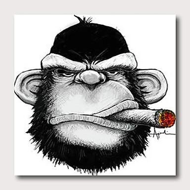 มือทาสียืดผ้าใบภาพวาดสีน้ำมันพร้อมที่จะแขวนบทคัดย่อสไตล์สัตว์ป๊อปศิลปะลิง