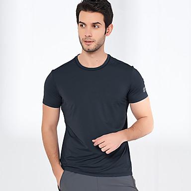 สำหรับผู้ชาย Hiking T-shirt แขนสั้น กลางแจ้ง กันลม ทน UV ระบายอากาศ Moisture Wicking เสื้อยึด Tops ฤดูใบไม้ร่วง ฤดูร้อน เส้นใยสังเคราะห์ Elastane ครูเน็ค สีกรมท่า สีเทา สีดำสว่าง / แห้งเร็ว