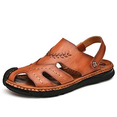 בגדי ריקוד גברים נעלי נוחות עור קיץ / אביב קיץ יום יומי סנדלים נושם שחור / חום