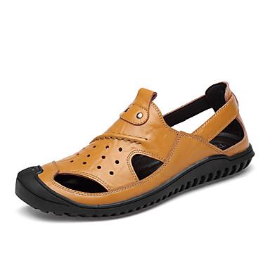 สำหรับผู้ชาย รองเท้าสบาย ๆ แน๊บป้า Leather ตก / ฤดูร้อนฤดูใบไม้ผลิ ธุรกิจ / ไม่เป็นทางการ รองเท้าแตะ ระบายอากาศ สีดำ / สีน้ำตาล / กาแฟ
