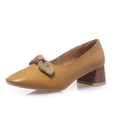 สำหรับผู้หญิง รองเท้าส้นสูง ส้นหนา PU ฤดูใบไม้ผลิ & ฤดูใบไม้ร่วง สีดำ / สีเหลือง / สีชมพู