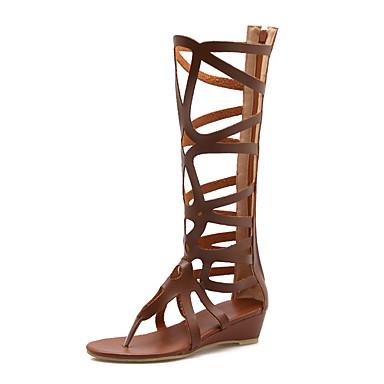 สำหรับผู้หญิง รองเท้าแตะ รองเท้าส้นตึก เปิดนิ้ว PU คลาสสิก / minimalism ฤดูร้อน สีดำ / ขาว / สีน้ำตาล / พรรคและเย็น / พรรคและเย็น