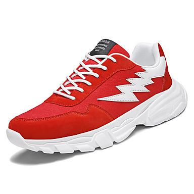 สำหรับผู้ชาย รองเท้าสบาย ๆ ผ้าใบ / PU ฤดูร้อน Sporty รองเท้ากีฬา สำหรับวิ่ง ไม่ลื่นไถล ลายบล็อคสี สีดำ / แดง / สีเทา / การกรีฑา