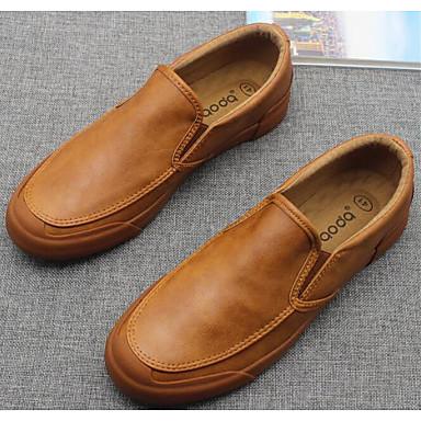 สำหรับผู้ชาย รองเท้าสบาย ๆ PU ฤดูใบไม้ผลิ รองเท้าส้นเตี้ยทำมาจากหนังและรองเท้าสวมแบบไม่มีเชือก สีดำ / สีน้ำตาล / สีเทาเข้ม