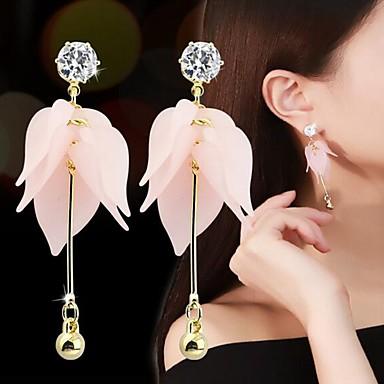 สำหรับผู้หญิง Cubic Zirconia Drop Earrings Flower Stylish หวาน เรซิน ต่างหู เครื่องประดับ ขาว / สีชมพูอ่อน สำหรับ ทุกวัน 1 คู่