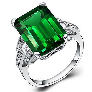 levne Dámské šperky-Dámské dámy Prsten Smaragd 1ks Zelená S925 Sterling Silver Geometric Shape stylové Párty Denní Šperky Klasika Šťastný Nálada Cool