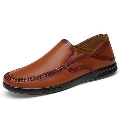 สำหรับผู้ชาย สไตล์อินเดียนแดง แน๊บป้า Leather ฤดูใบไม้ผลิ / ตก คลาสสิก / ไม่เป็นทางการ รองเท้าส้นเตี้ยทำมาจากหนังและรองเท้าสวมแบบไม่มีเชือก ไม่ลื่นไถล สีดำ / สีน้ำตาล / สำนักงานและอาชีพ