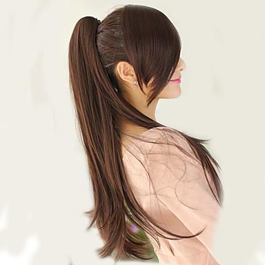 voordelige Korting Pruiken & Hair Extensions-Klem In / Op Extentions van mensenhaar uitbreiding Echt haar Haar stuk Haarextensies Recht 22 Inch(56Cm) Feest / Uitgaan