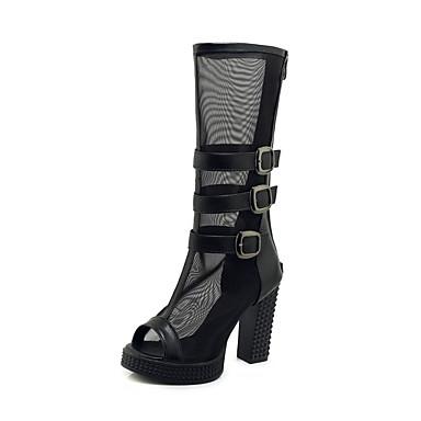 สำหรับผู้หญิง บูท ส้นหนา ที่สวมนิ้วเท้า หัวเข็มขัด ตารางไขว้ / PU บู้ทสูงระดับกลาง ฤดูร้อนฤดูใบไม้ผลิ สีดำ / ขาว