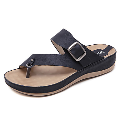 voordelige Damespantoffels & slippers-Dames Imitatieleer Lente zomer Informeel / minimalisme Slippers & Flip-Flops Platte hak Ronde Teen Gesp Zwart / Rood / Amandel
