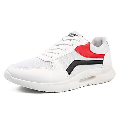 สำหรับผู้ชาย รองเท้าสบาย ๆ ผ้ายืดหยุ่น ฤดูร้อนฤดูใบไม้ผลิ Sporty / ไม่เป็นทางการ รองเท้ากีฬา สำหรับวิ่ง ระบายอากาศ สีดำและสีขาว / สีดำ / สีแดง / ขาว / ช็อตดูดซับ
