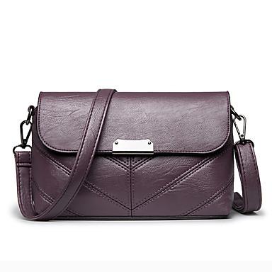 สำหรับผู้หญิง กระดุม PU Crossbody Bag สีทึบ สีดำ / ไวน์ / สีม่วง / ฤดูใบไม้ร่วง & ฤดูหนาว